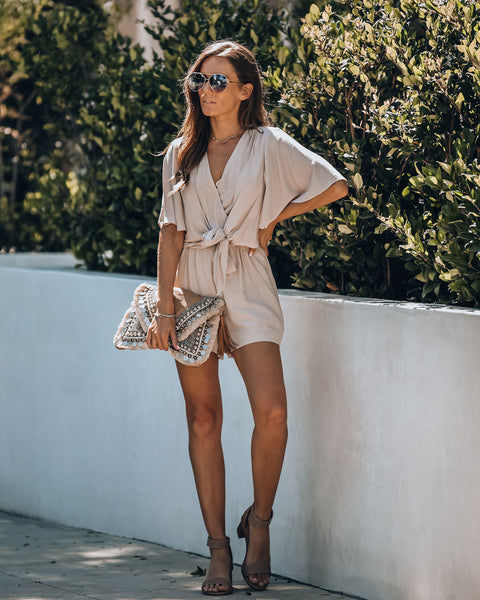 Hello Again Tie Pocketed Romper - Taupe