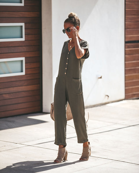 Take Flight Button Down Pocketed Jumpsuit - Olive