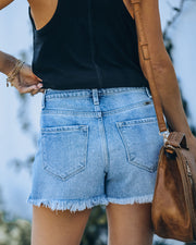 Amanda High Rise Distressed Denim Shorts view 2