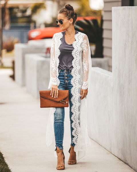 Honeymoon Lace Duster Kimono - FINAL SALE