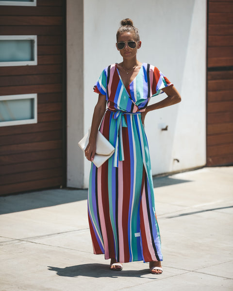 Live Graciously Striped Wrap Maxi Dress