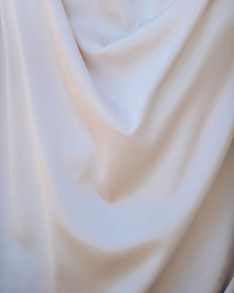 Ultraviolet Satin Ruched Drape Blouse - Light Beige