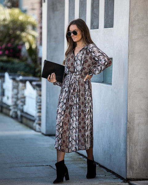 Lure Of The Unknown Pleated Midi Dress - FINAL SALE