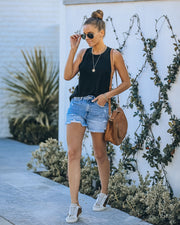 Amanda High Rise Distressed Denim Shorts view 6