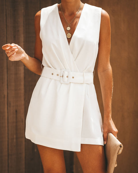 Passion For Fashion Belted Romper - White