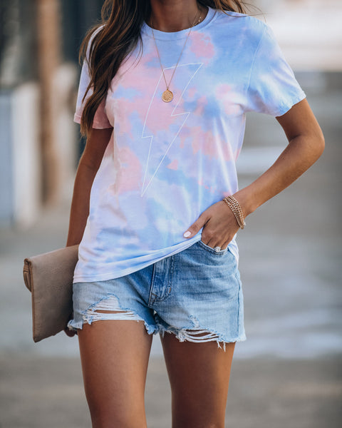 Tie Dye Obsessed Cotton Blend Bolt Tee