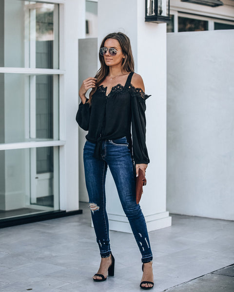 Blake Lace Cold Shoulder Tie Blouse - Black - FINAL SALE
