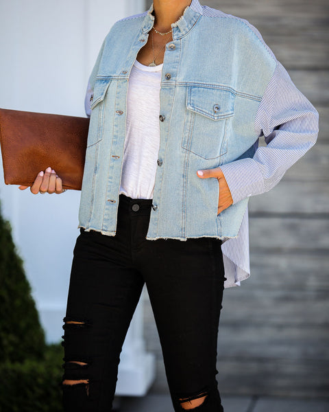 Borrowed From The Boys Pocketed Contrast Denim Jacket - FINAL SALE