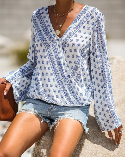 Remy Printed Drape Front Blouse
