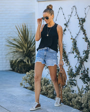 Amanda High Rise Distressed Denim Shorts view 8