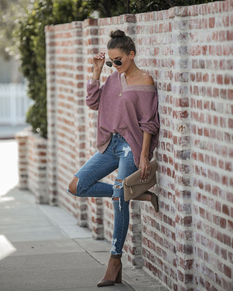 Potluck Open Back Thermal Knit Top - Dark Mauve