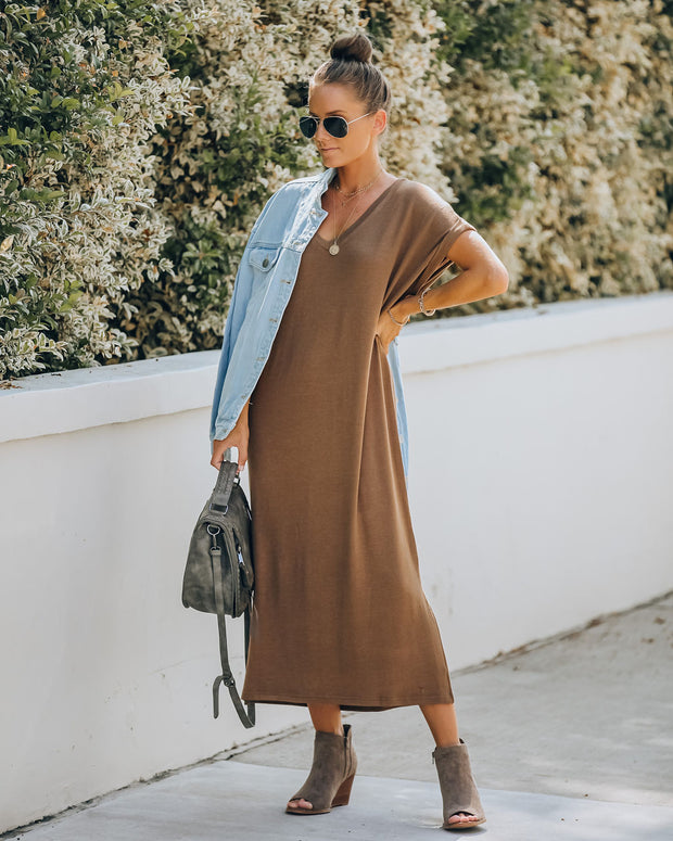 Saraya Short Sleeve Knit Midi Dress - Mocha