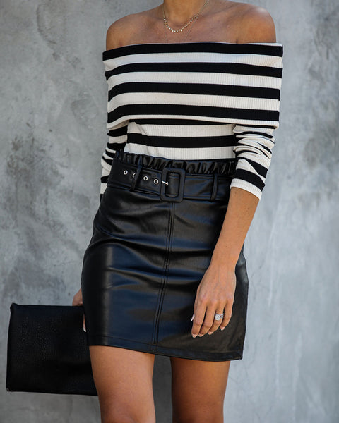 City Limits Belted Faux Leather Mini Skirt - FINAL SALE