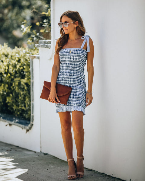 Blue Sky Gingham Ruched Tie Dress