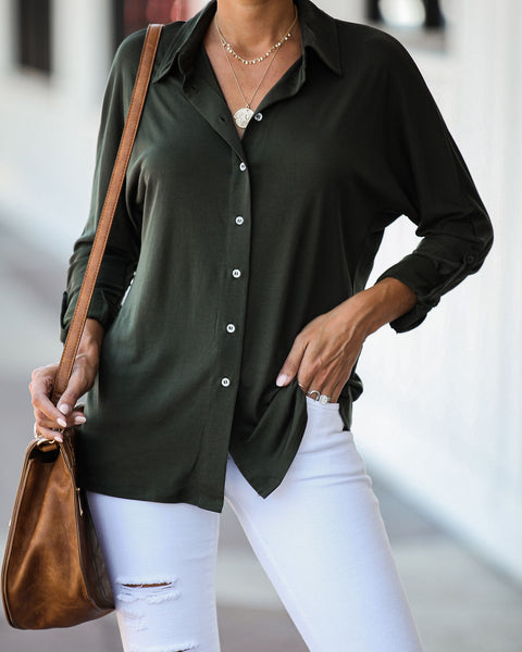Invaluable Button Down Top - Dark Olive - FINAL SALE