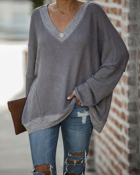 Potluck Open Back Thermal Knit Top - Grey