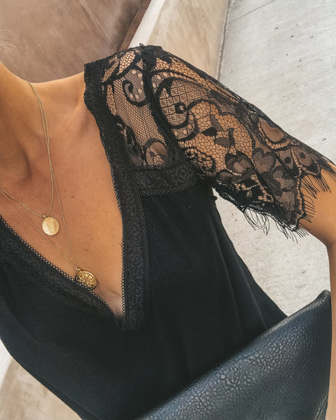 Sweet Side Lace Top - Black