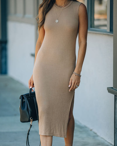 Sheldon Cotton Blend Sleeveless Ribbed Midi Dress - Camel