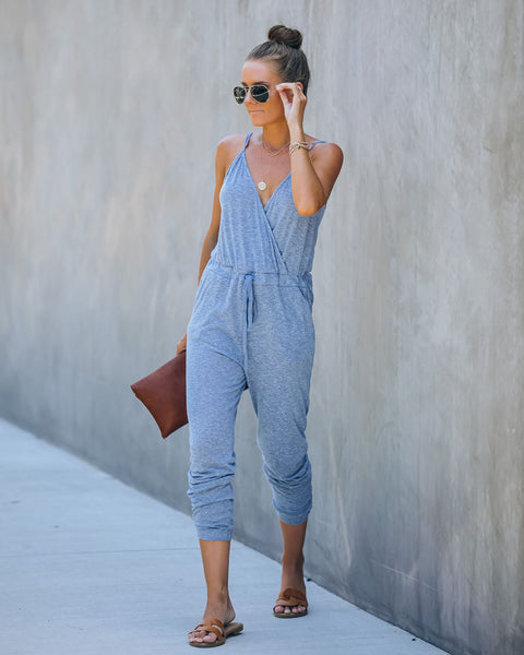 Allusion Cotton Blend Pocketed Knit Jumpsuit