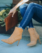 Britt Faux Suede Heeled Bootie - Camel view 4