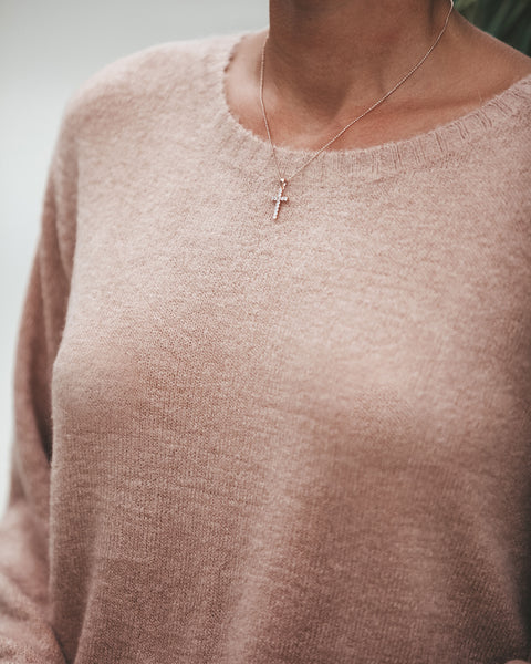 MARRIN COSTELLO - Cross Chain Necklace - Rose Gold