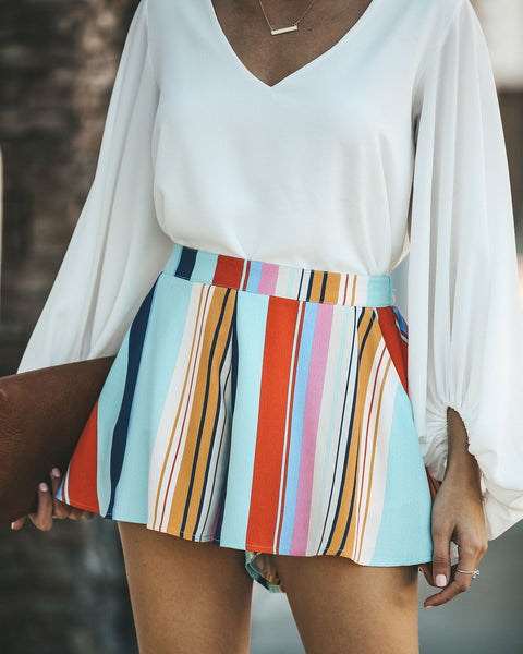 Pocketed Life In Color Striped Shorts