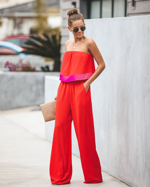 Red Hot Pocketed Strapless Jumpsuit