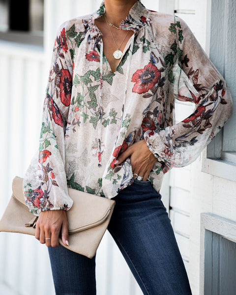 Second Spring Silk Floral Blouse - FINAL SALE