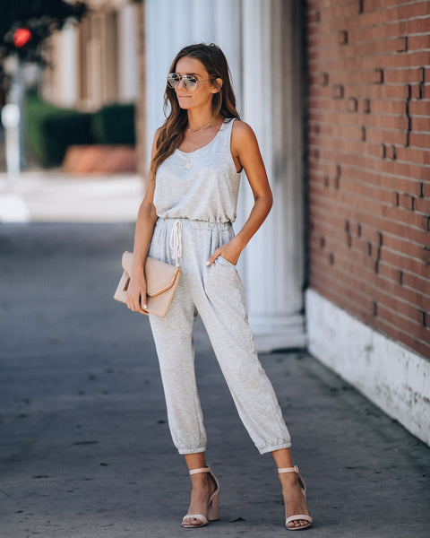 Meet Up Pocketed Knit Jumpsuit - Grey