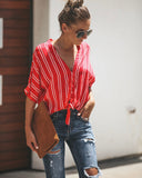Billboard Beauty Button Down Tie Top - Red