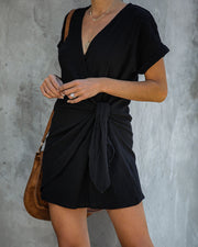 Kauai Crush Woven Wrap Dress - Black - FINAL SALE