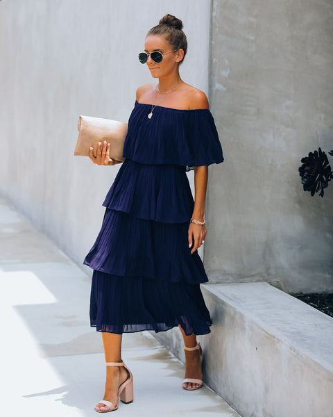 Bonifacio Tiered Pleated Midi Dress - Navy