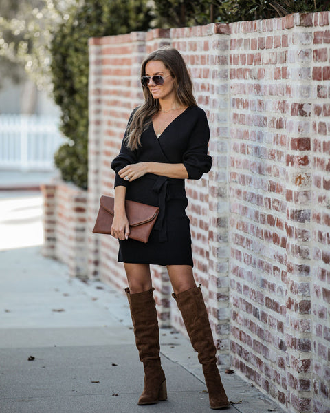Blow A Kiss Drape Knit Sweater Dress - Black