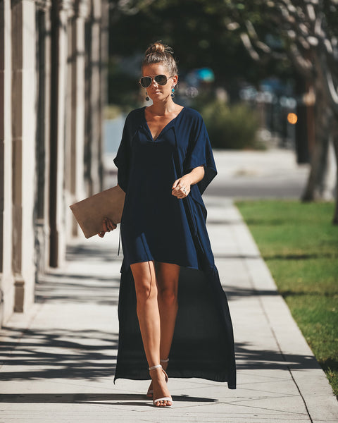 Alpha + Omega High Low Dress - Navy - FINAL SALE