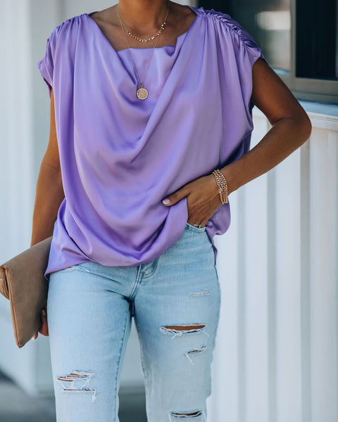 Ultraviolet Satin Ruched Drape Blouse - Misty Lavender