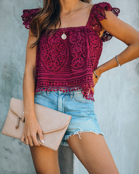 At Last Crochet Lace Crop Top - Burgundy - FINAL SALE
