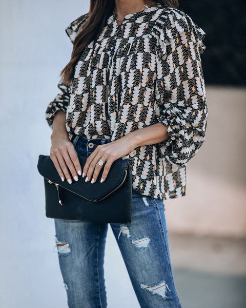 Illuminate Metallic Detailed Ruffle Blouse - FINAL SALE