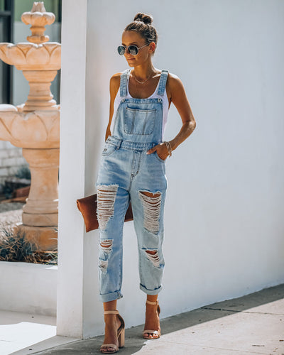 Sassy Sweetheart Distressed Denim Overalls