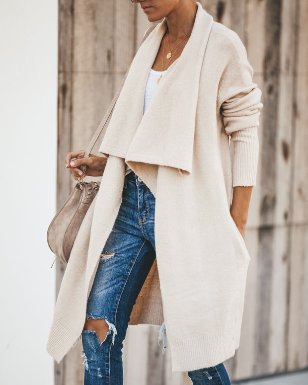 Fireside Pocketed Knit Cardigan - Oatmeal