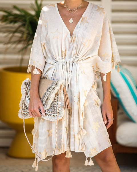 Gold Star Cotton Tassel Cover-Up