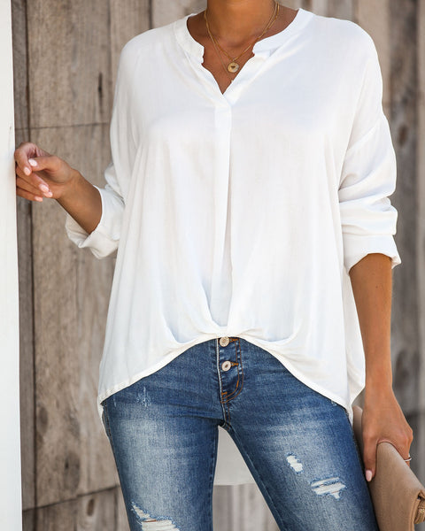 Level Up Drape High Low Blouse - FINAL SALE