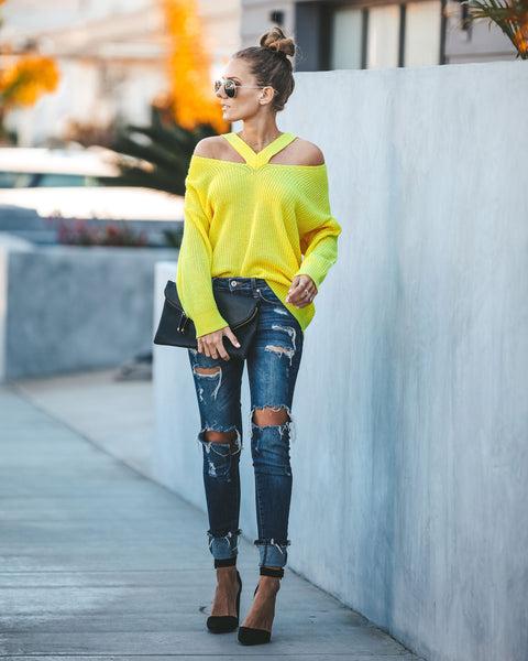 Voltage Cut Out Sweater - Neon Yellow - FINAL SALE