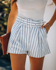 Cherish Sunsets Pocketed Striped Belted Shorts