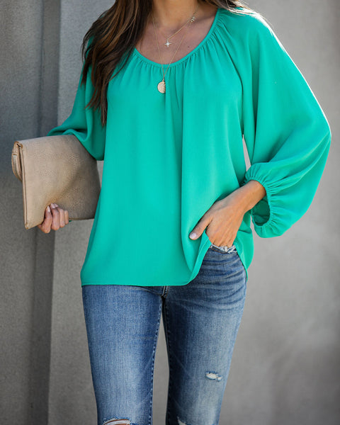 Promotion Balloon Sleeve Blouse - Jade - FINAL SALE