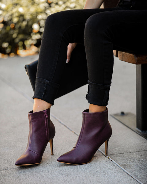Capitol Hill Faux Leather Heeled Bootie - Wine - FINAL SALE