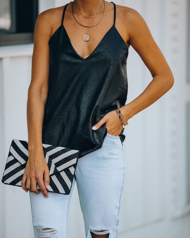 Join The Party Faux Leather Racerback Tank