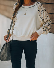 Up For Grabs Printed Sleeve Knit Pullover