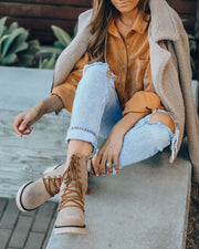 Danny Lace Up Heeled Boot - Latte view 7