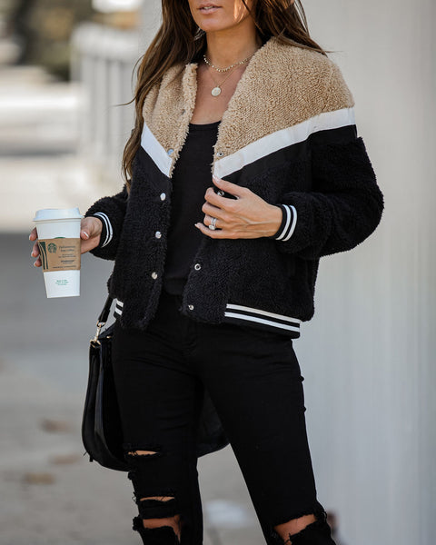 Stride In Style Pocketed Chevron Sherpa Jacket