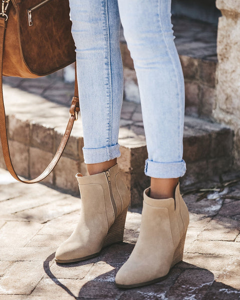 Saddle Up Faux Suede Wedge Bootie - Oatmeal - FINAL SALE